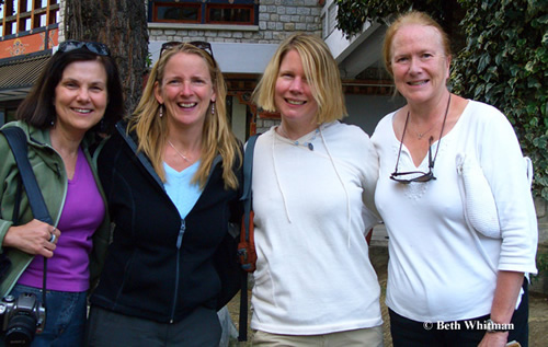 Fellow women group travelers with Beth Whitman in Bhutan.