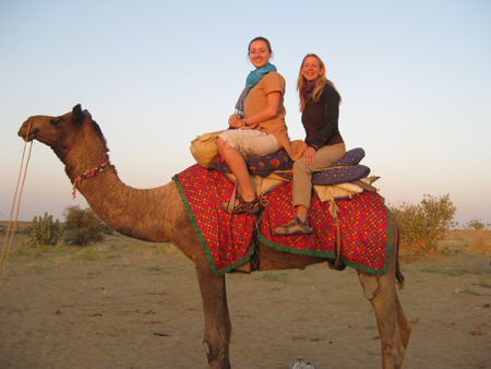 Women on camel in India