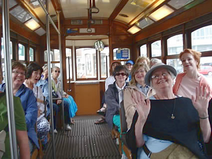 Women riding bus in Lisbon, Portugal