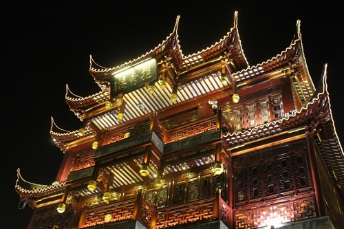 An illuminated temple in China