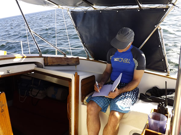 Author working on a boat