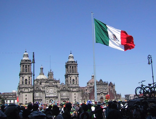 Zocalo in Mexico City with Flag