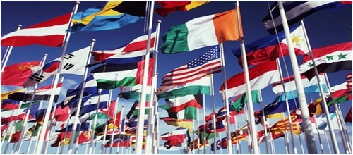 Teaching schools and international flags