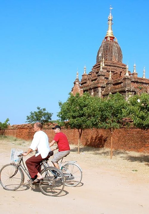 Jan joining our group on bike in Bagan