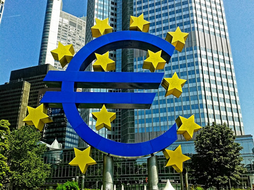Euro sign in international Frankfurt