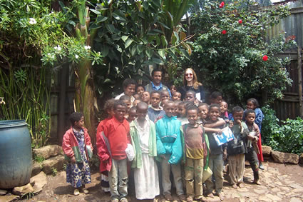 Teaching students in Ethiopia