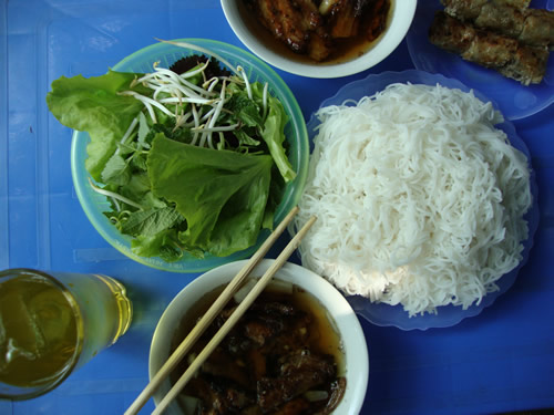 Bun cha at one of Hanoi's street food stalls