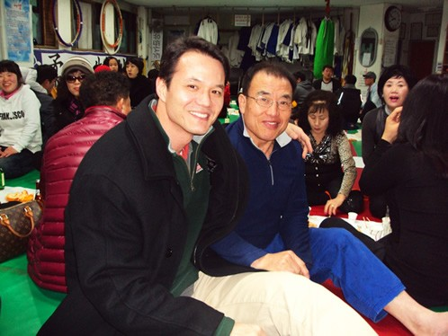 Author with the Dojo Master in South Korea