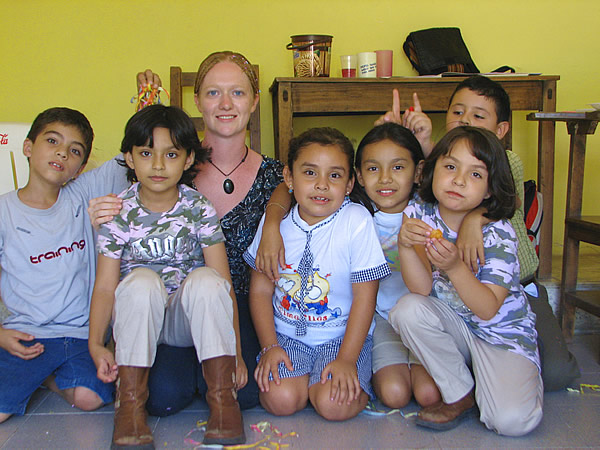 Author teaching English to children in Chiapas