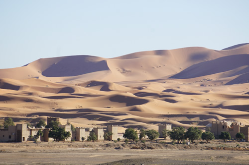 Casbahs tucked at the edge of the Sahara in Merzouga
