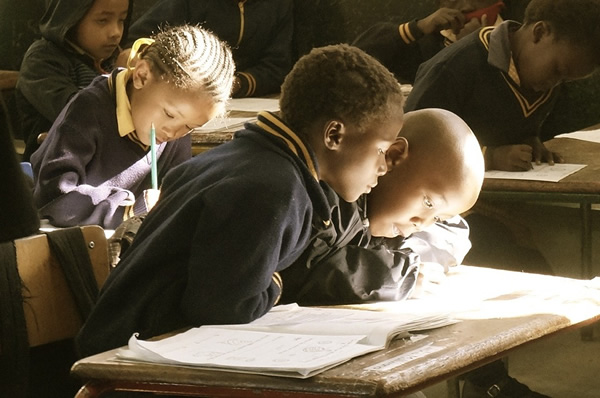 Learning in a classroom in Africa