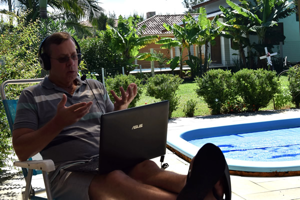 John teaching English online in Colombia