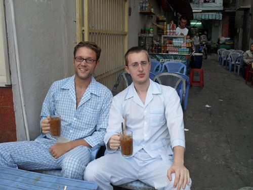 In pajamas with coffe at a cafe in Vietnam