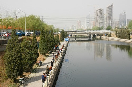 People fishing in Beijing