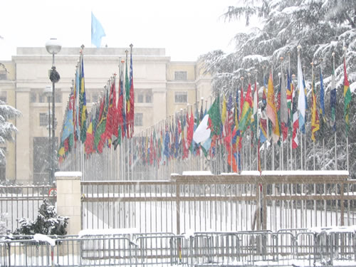 United Nations building in snow in Geneva, Switzerland
