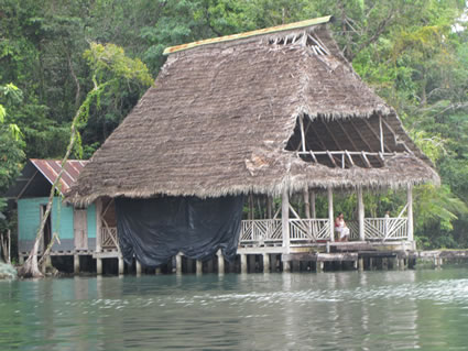 Thatch-roofed huts in Guatemala