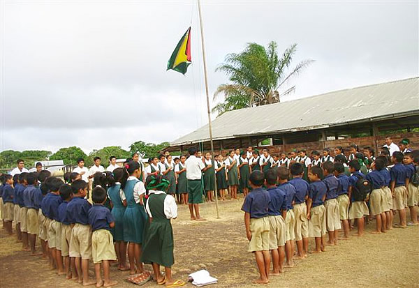 Yupukari school assembly in Guyana