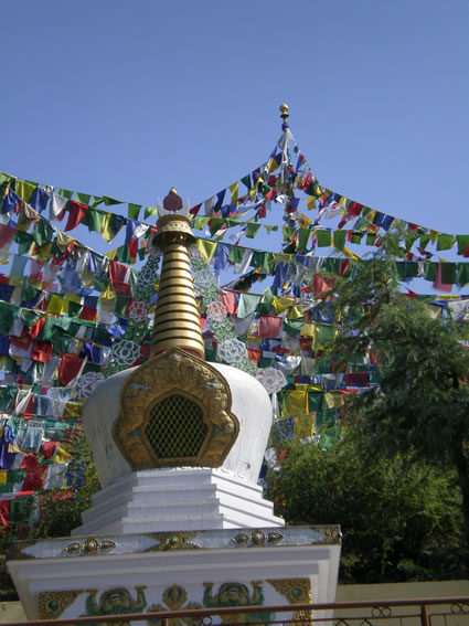 Prayer flags behind the Dalai Lama's temple