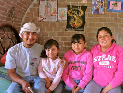 The Ramirez family in their new home in Mexico
