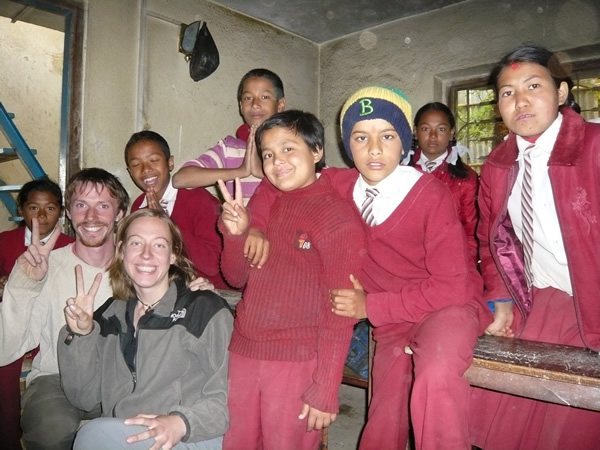 Volunteer teaching English in Nepal