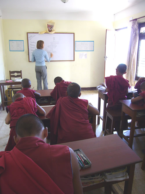 In classroom teaching English to young monks in Nepal