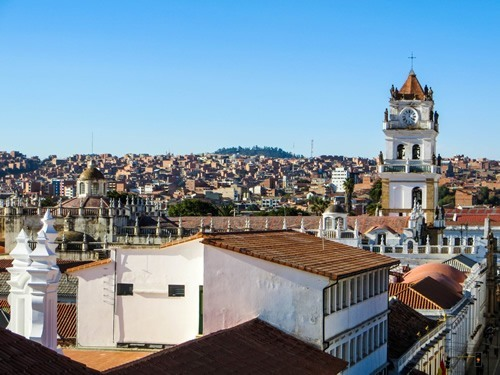 The skyline of beautiful Sucre, Bolivia
