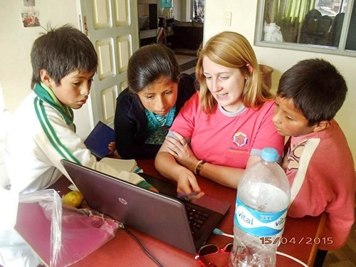 Teaching entralled children while with Biblioworks in Bolivia