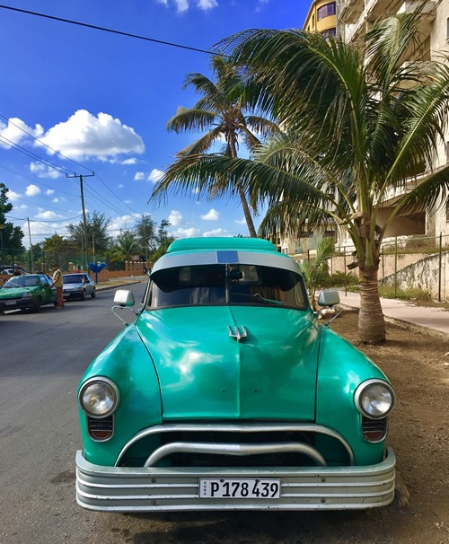 An old American refurbished car in Havana