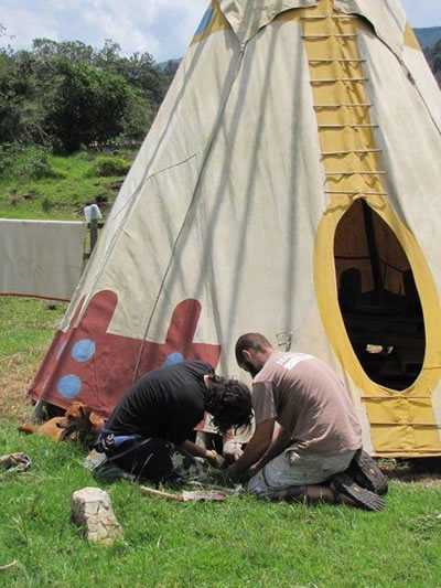 Work erecting a tipi