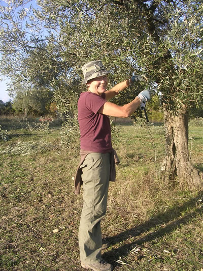 The author volunteering with WWOOF in Italy