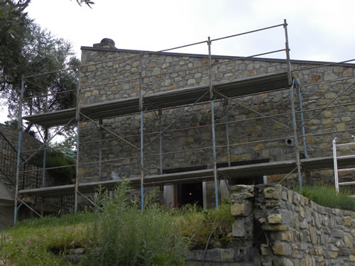 Scaffolding for volunteer work on the house