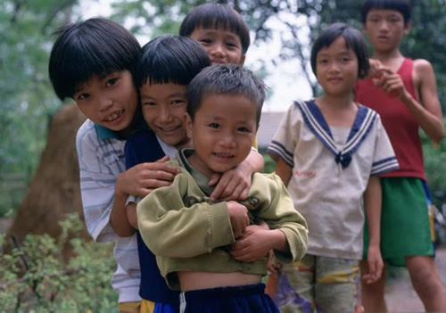 Children in Vietnam after receiving soccer balls.