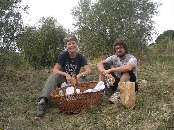 The author and friend volunteering in olive grove with WWOOF in Italy