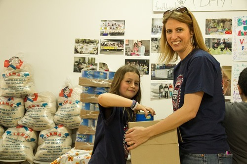 Author volunteering in Lebanon with her daughter