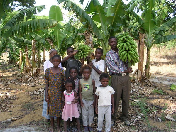 The community in Zambia is proud of their bananas