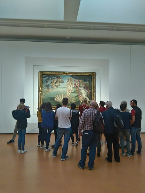 Botticelli's Birth of Venus and onlookers