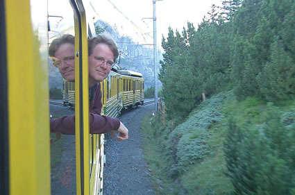 Rick Steves on a Train