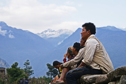 People sitting in Nepal