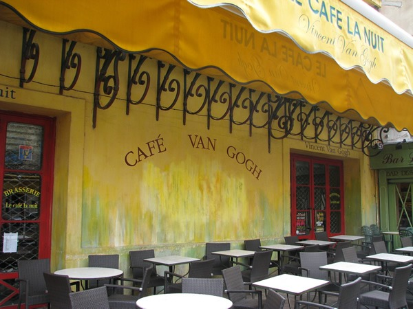 Van Gogh cafe in Arles, which is still bustles under the stars at night.