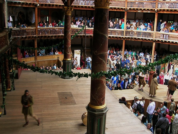 A performance at the Globe Theatre in London