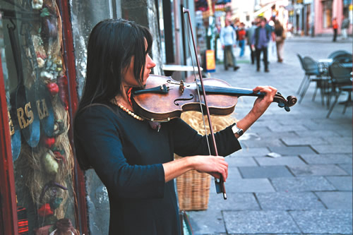 A violinist in Poland