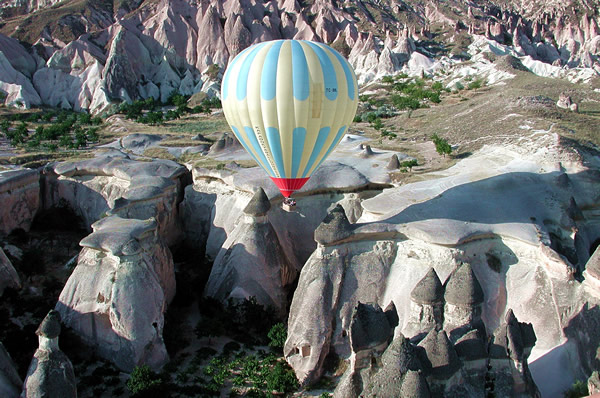 Volcanic rock is dramatically sculpted by wind and weather. Photo by Kapadokya Balloons Goreme.