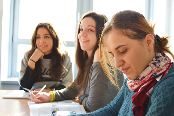 Students at an inernational language school
