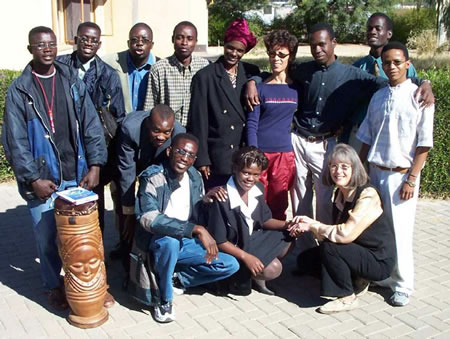 Author with first-year English students in Namibia