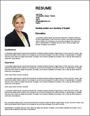 Cv Template For Teaching Abroad English Teacher Cv Example