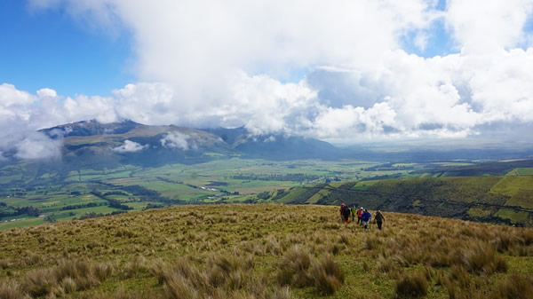 Ecuador landscape with backpackers