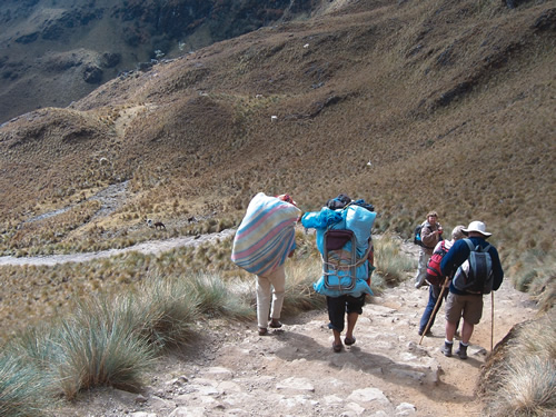 Porters and Trekkers on Inca Trail