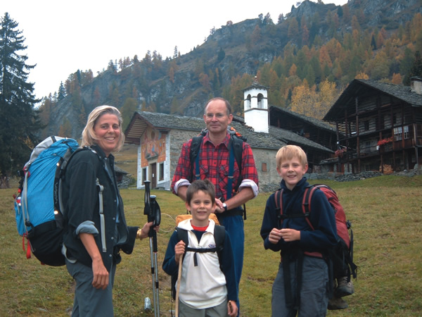 Author with her family as au pair in Otro, Italy
