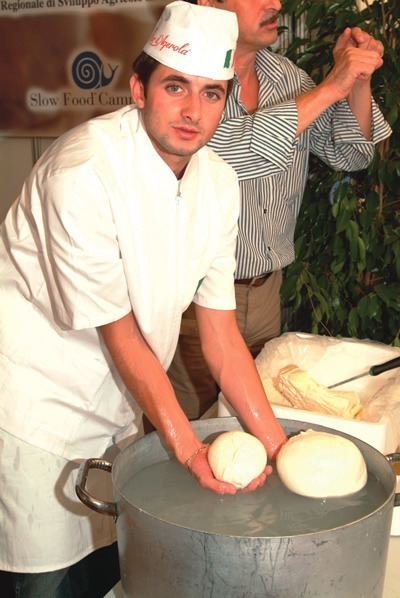 The making of fresh mozzarella in Italy