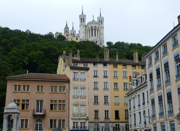 A square in the old town of Lyon, France